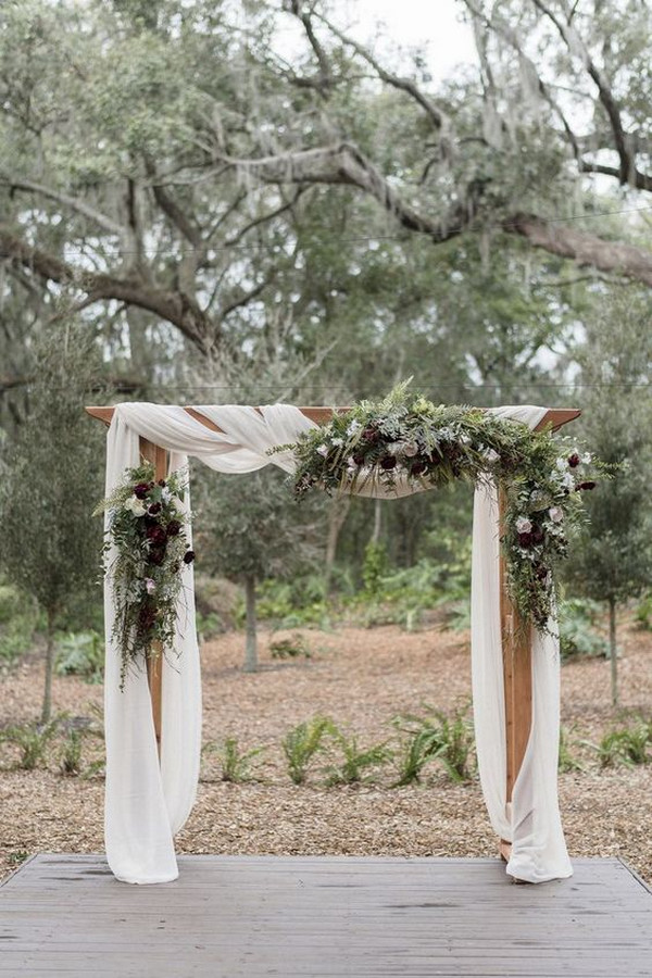 greenery rustic elegant outdoor wedding arch ideas