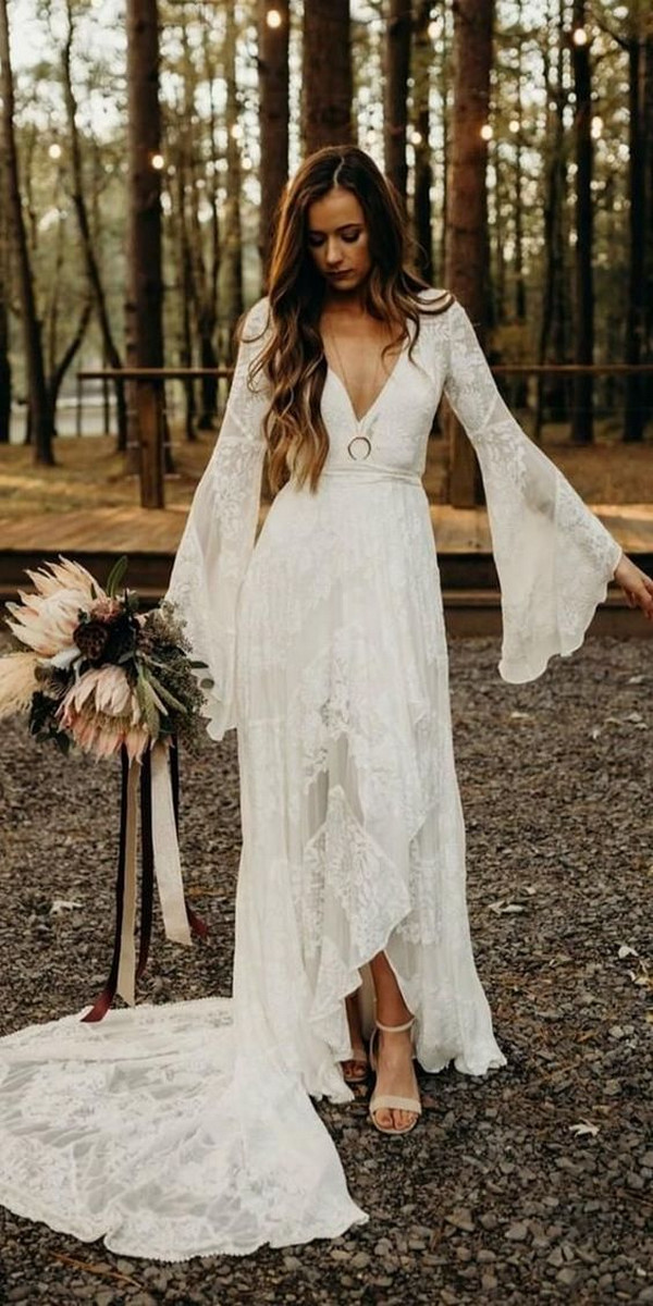 high low boho chic lace wedding dress