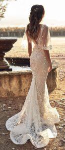 mermaid boho chic lace wedding dress with cap sleeves