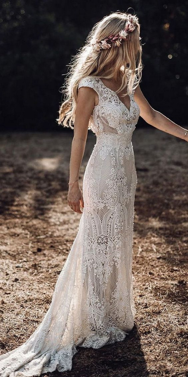 mermaid boho chic lace wedding dress