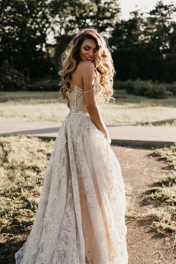 romantic boho lace wedding dress