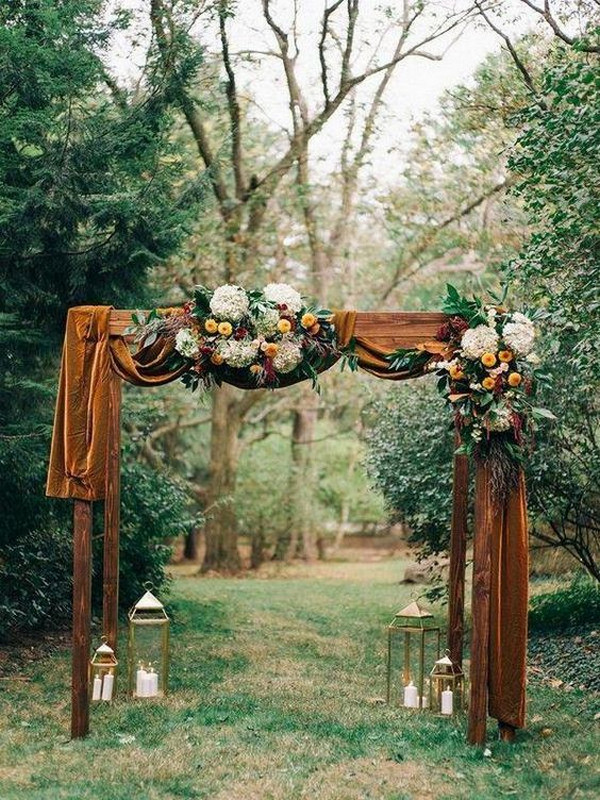 rust orange fall wedding arch ideas