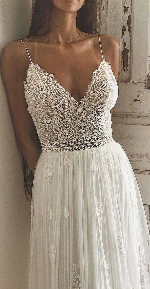 spaghetti straps boho chic wedding dress