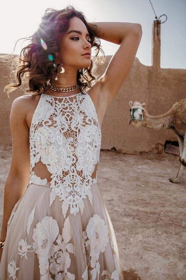 special boho nude wedding dress