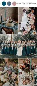 trending dark teal and dusty rose wedding color ideas for fall