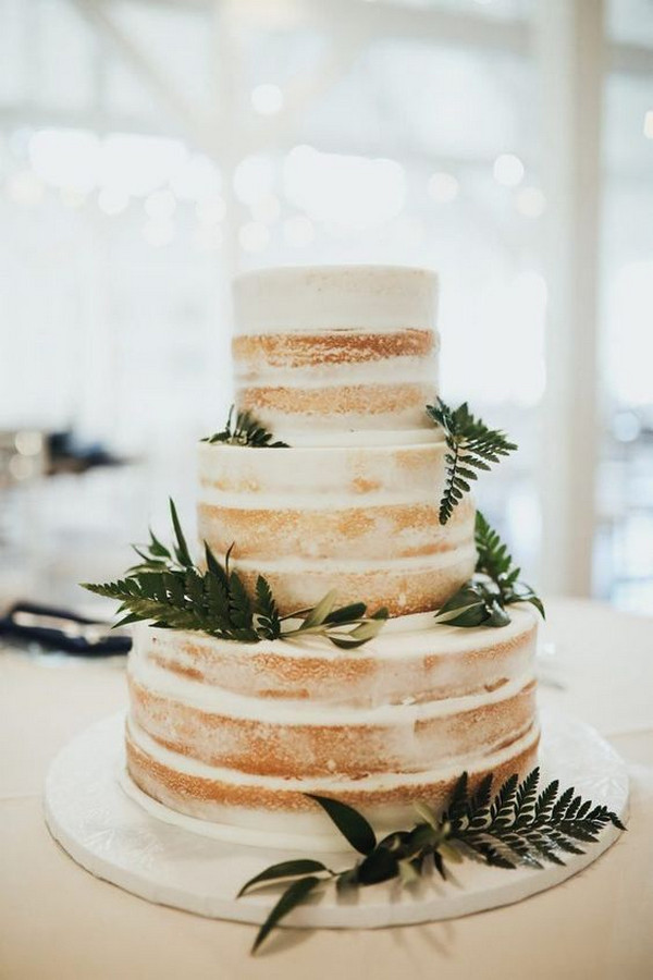 chic naked rustic wedding cake