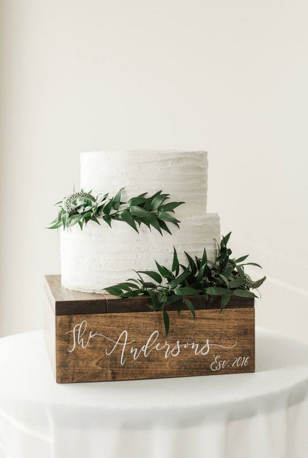 chic rustic greenery wedding cake ideas