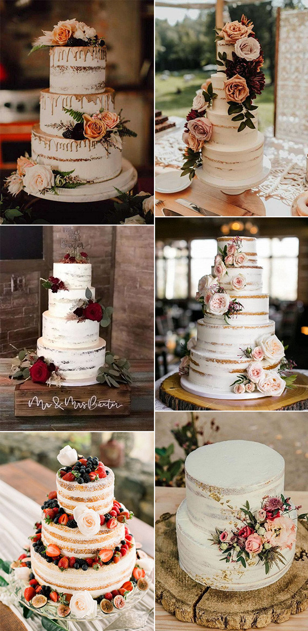 fall floral rustic wedding cakes