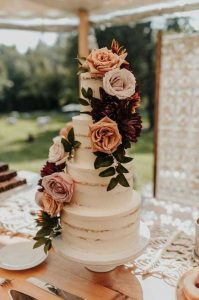 sage green and rust floral wedding cake ideas