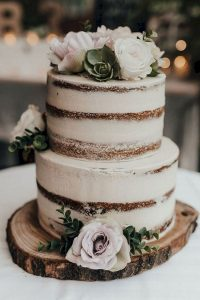 semi naked simple rustic wedding cake