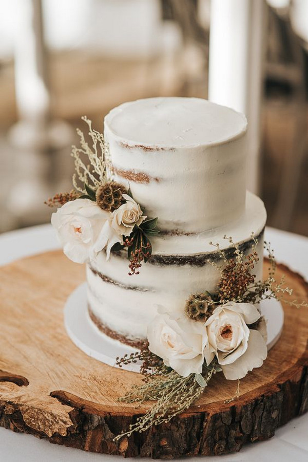 tree stump stand rustic wedding cake