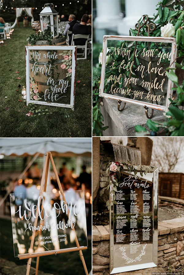 acrylic and mirror simple chic wedding sign ideas