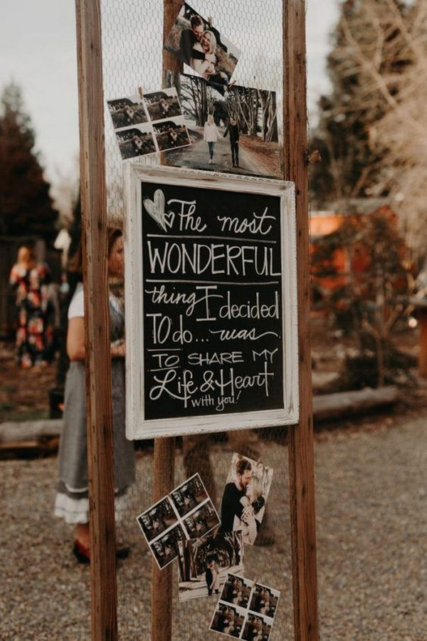 backyard wedding sign ideas for boho weddings