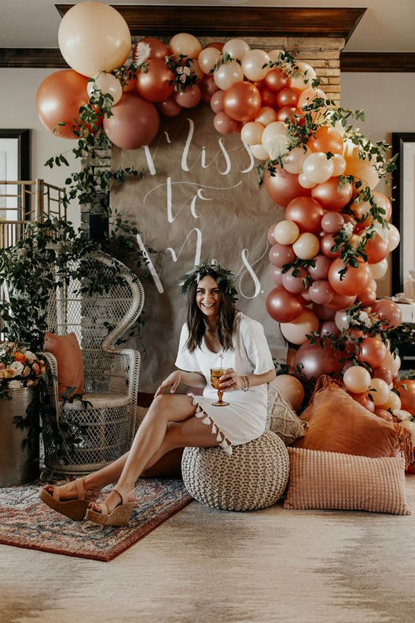 boho chic bridal shower decoration ideas with balloons