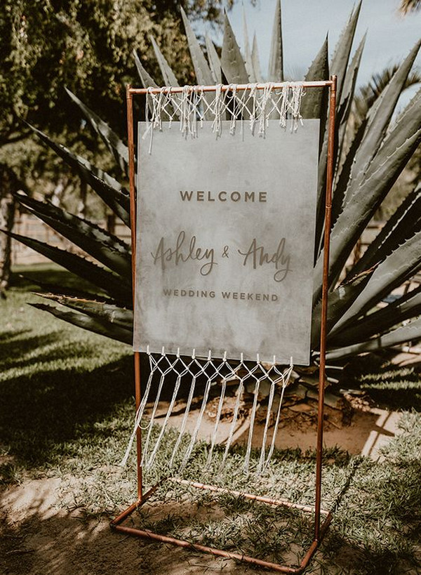 boho chic wedding sign ideas