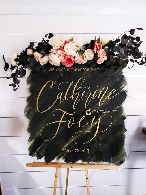 boho floarl wedding sign ideas