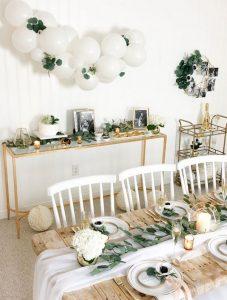 botanical white and green bridal shower decoration ideas