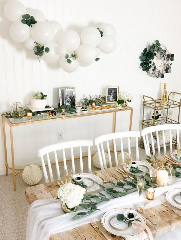 botanical white and green bridal shower decoration ideas