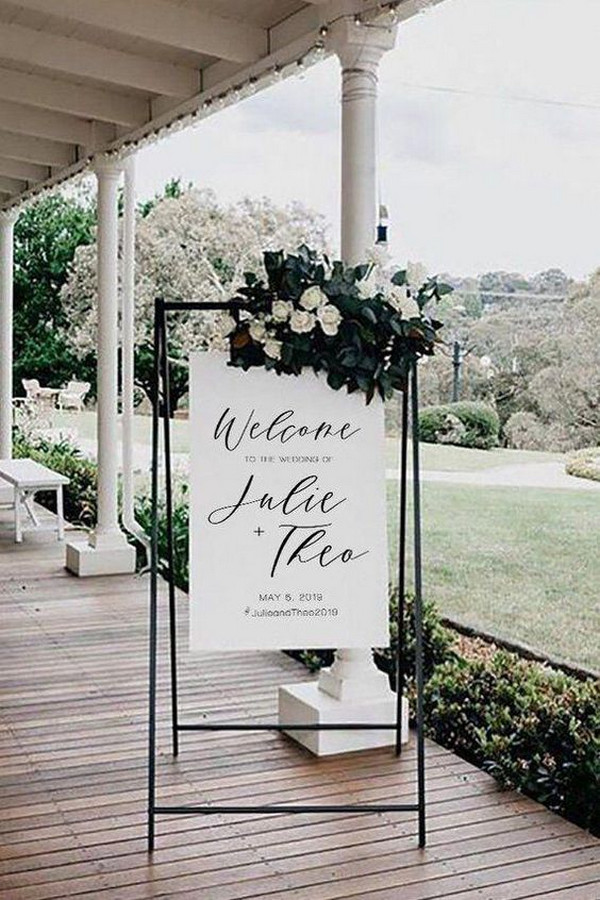modern chic white and black wedding sign