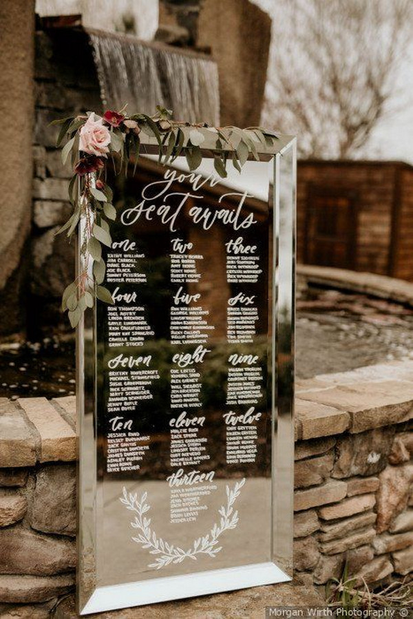 outdoor mirror wedding sign ideas