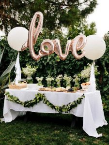 outdoor white and green bridal shower decoration ideas