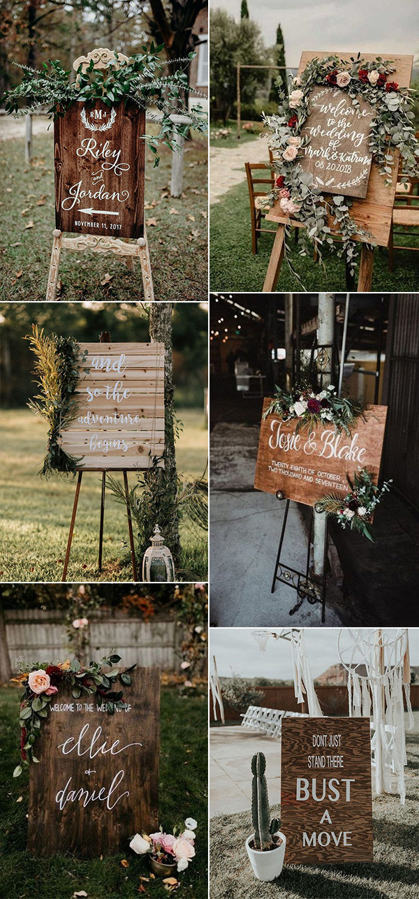 rustic bobo chic wooden wedding signs
