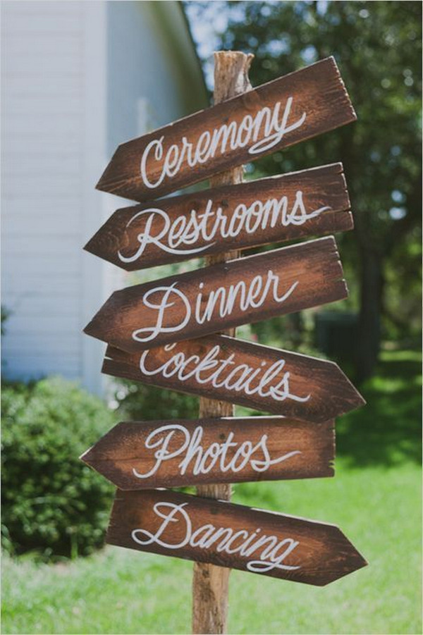 rustic simple wedding sign ideas