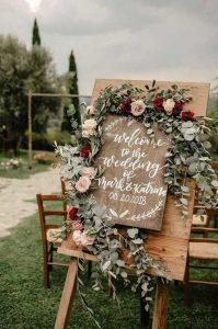 silver sage pink and burgundy boho wedding sign ideas