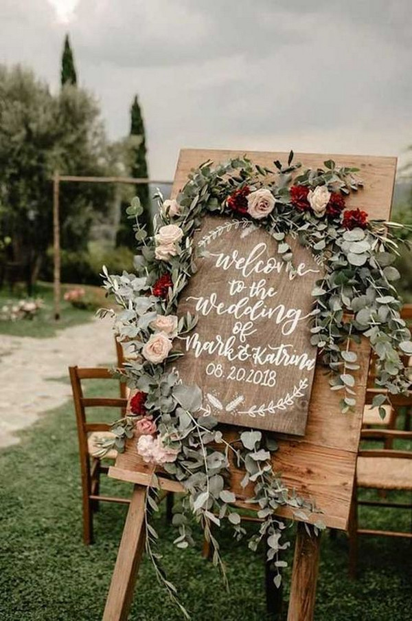 silver sage pink and burgundy boho wedding sign ideas