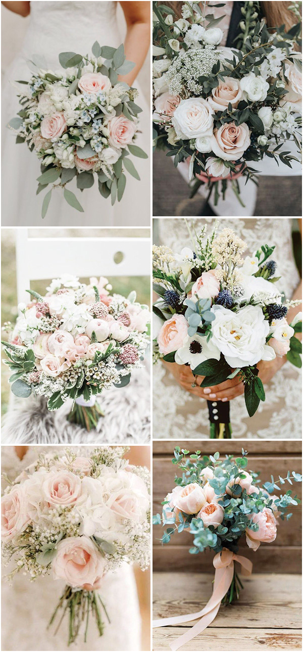 blush pink and sage green wedding bouquets