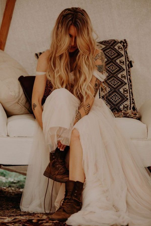 boho wedding dress with boots