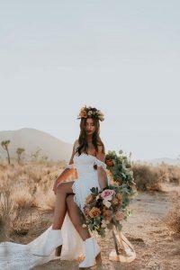 boho wedding dress with white boots