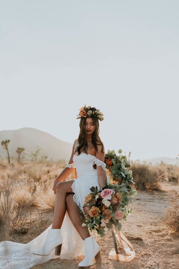 boho wedding dress with white boots