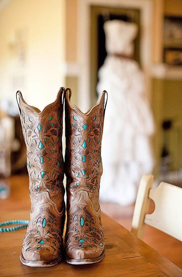 cowgirl wedding boots for country wedding