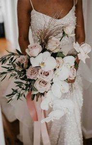 dusty pink and sage wedding bouquet