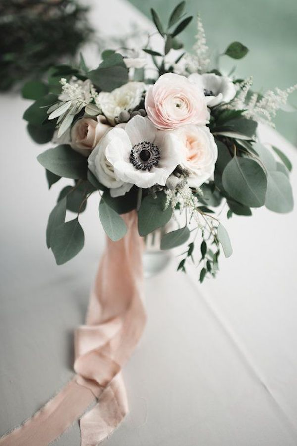 elegant blush and sage wedding bouquet