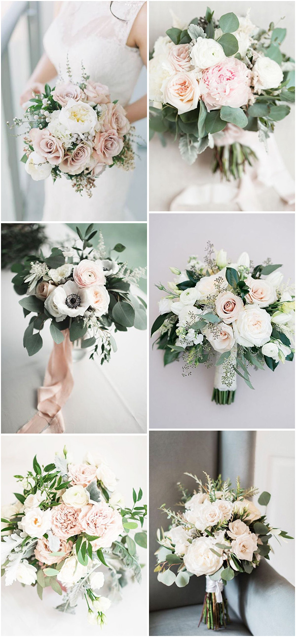 elegant blush pink and green wedding bouquets