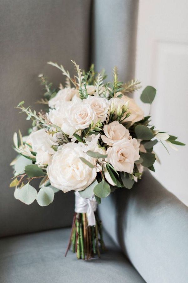 elegant pale pink and sage wedding bouquet