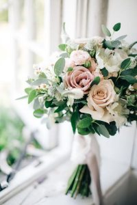 elegant pink and greenery wedding bouquet