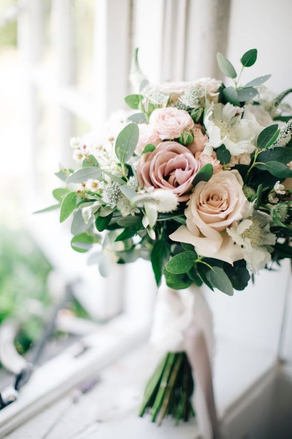 elegant pink and greenery wedding bouquet