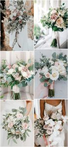 elegant pink and greenery wedding bouquets