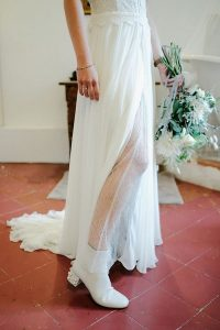 french wedding style with white boots