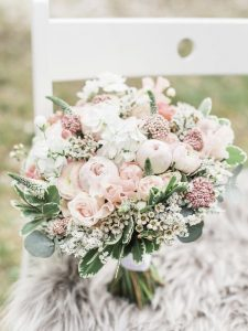 light pink and sage wedding bouquet