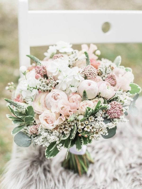 light pink and sage wedding bouquet