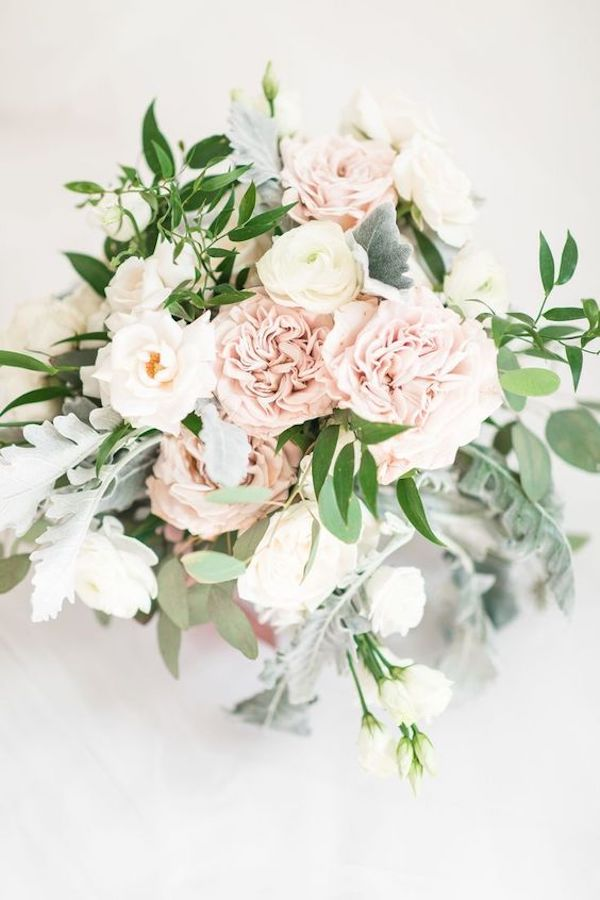 pink and greenery romantic wedding bouquet