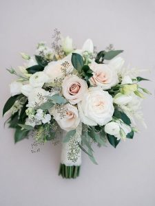 pink and greenery wedding bouquets