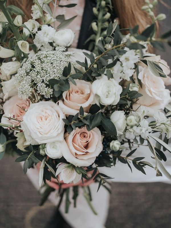 pink and sage green wedding bouquet for 2020