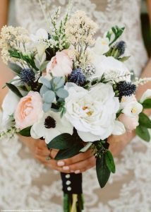 pink navy and green wedding bouquet