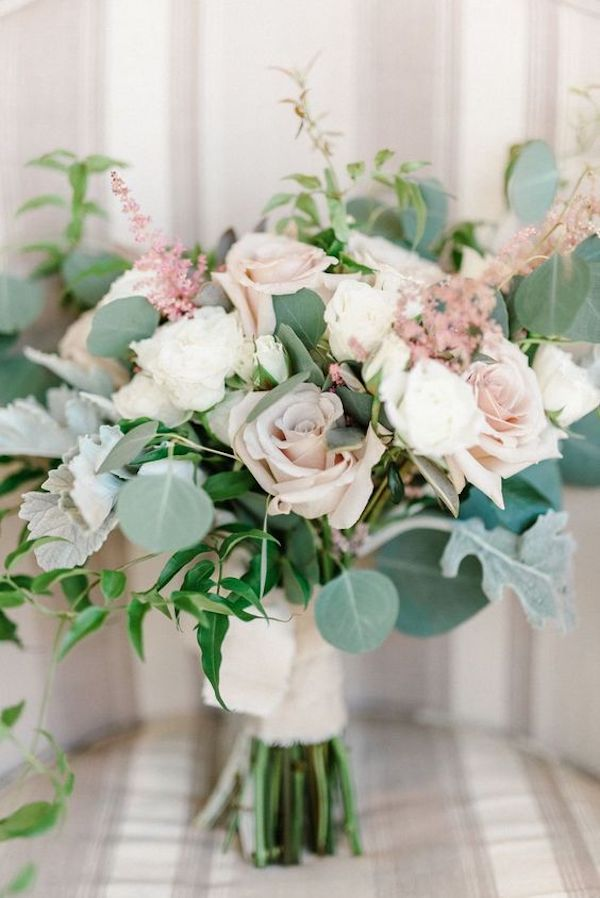 shades of pink and greenery wedding bouquet