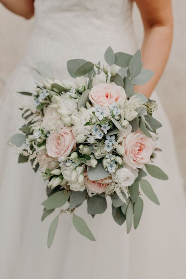 soft pink and sage wedding bouquet